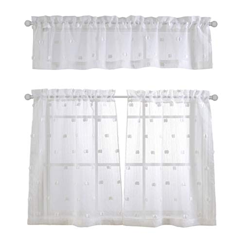 MYSKY HOME Patched Design Fashion 3 Pieces Kitchen Jacquard Sheer Tier Curtains and Valance Set, White For Sale