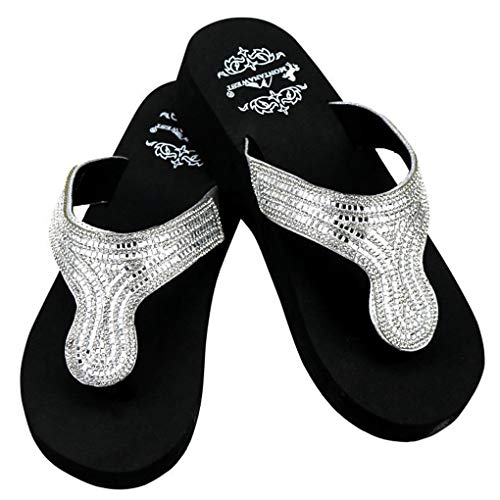 Montana West Flip Flop Sandals Hand Beaded Embroidered Studded (10B(M), Bk Paisley ()