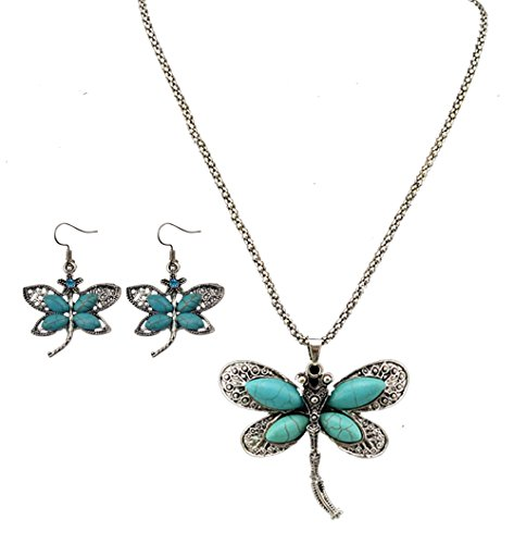 idealway Bohemian Turquoise Necklace Earrings
