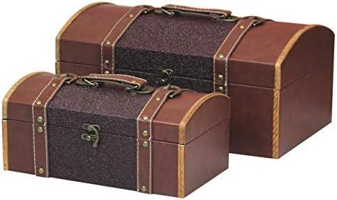 Vintiquewise TM Set of Two Leather Designer Decorative Storage Trunks