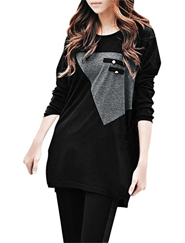 Allegra K Ladies Long Sleeve Tops Jersey Oversize Loose T Shirts