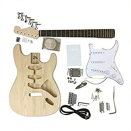 GD4401 Coban Guitars Right handed Ash Electric Guitar DIY Kit for Student & Luthier Projects (Black R/H)