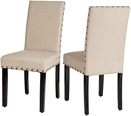 Glitzhome Padded Fabric Dining Chairs Rubber Wood Legs Chair