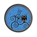 CafePress – Owl in a swirly tree – Unique Decorative 10″ Wall Clock For Sale