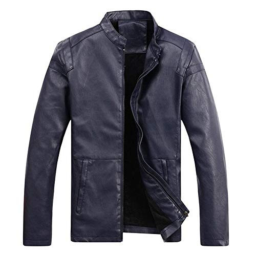 Gixxer Jacket Girl (Men's Vintage PU Leather Jacket Motorcycle Zipper Biker Coat(Blue/US XS(Asia L)))