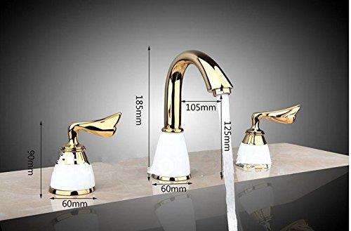 GOWE Polished Golden 3 Pieces Double Handles Spray Spout Bathroom Bathtub Basin Sink Faucet Vanity Mixer Tap Deck Mount 1