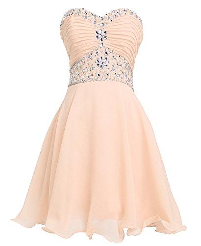 Strapless Rhinestone - FAIRY COUPLE Short Chiffon Strapless Crystal Homecoming Dress D0263 (US10, Champagne)