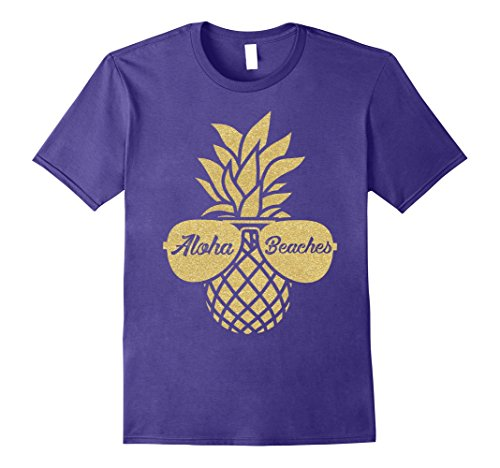 Funny Hawaiian T-shirts (Mens Aloha Beaches Pineapple Sunglasses Hawaiian Shirt - Wedding 2XL Purple)