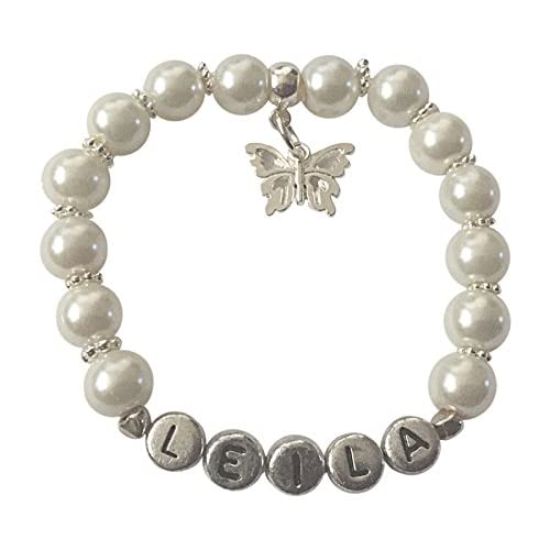Girls Personalised NAME Bracelet Gift with Butterfly Family or Wedding charm Choose Charm and Colour Daughter Granddaughter Goddaughter Cousin Flower girl Bridesmaid (S - approx 4-6 years)
