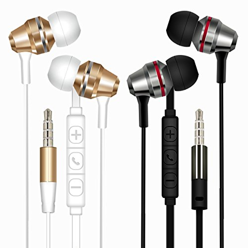 - Wired Earphones, Masumark Earphone Noise Isolating in Ear Earphones Headphones for iPhone, iPod, iPad with Volume Control and Microphone (Black+White) (2 Pack)