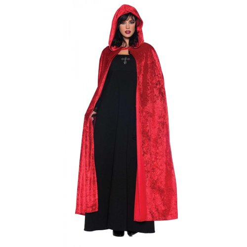 Velvet Riding Hood Adult (Women's Costume Cape - Full Length Velvet Hooded Cloak, Red, One Size)