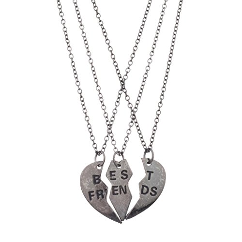 - Lux Accessories Best Friends BFF Forever Gunmetal Valentine Heart 3 PC Necklace Set