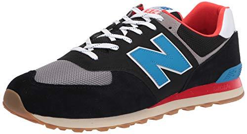New Balance Men's 574v2 Sneaker, Black/Neo Classic Blue, 12 D US