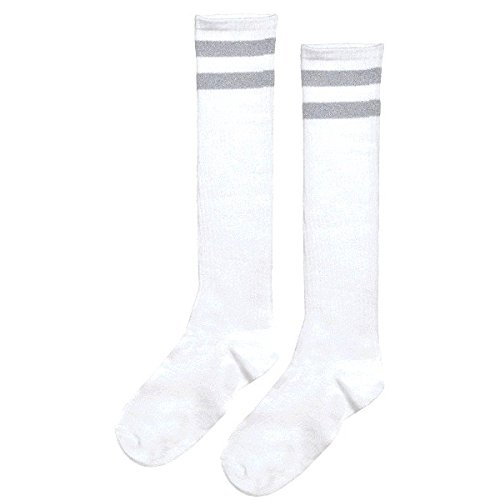 Amscan Standard Knee High Socks with Silver Stripes Sports Costume Party Apparel, Silver, Fabric, 19