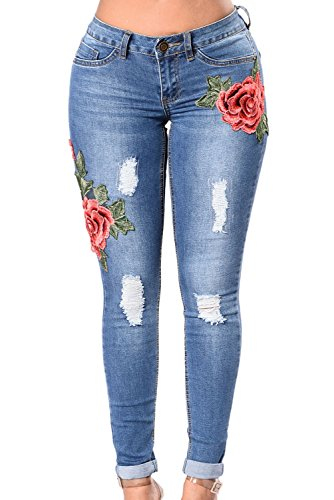 GOSOPIN High Waist Rose Embroidered Destroyed Ripped Jeans Distressed Denim Pants Medium Red ()