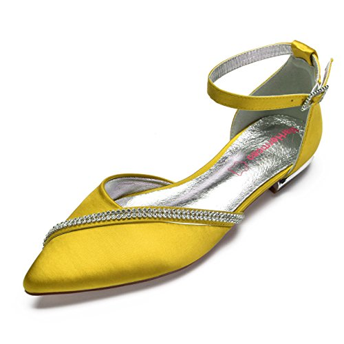 MarHermoso Women's Satin Ankle Strap Pointed Toe Rhinestones Comfort Flats Wedding Bridal Shoes Yellow ()