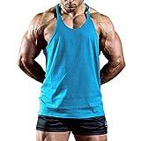 Hot!Men's Solid Color Thin Shoulder Strap Tank Tops Ninasill Off Shoulder Sleeveless Tops Sporty Fitness Casual T-Shirt Light Blue