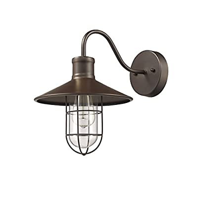 """Chloe Lighting CH857043RB11-WS1 Industrial Industrial-Style 1 Light Rubbed Bronze Wall Sconce 11"""" wide"""