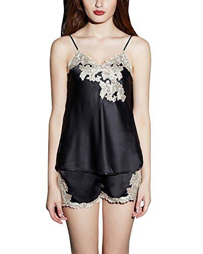 due Raso Camicia Nero Pigiama Donna Pantaloncini in Vestaglia Pezzi HxF6wFpTUq