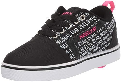 Heelys Girl's GR8 PRO Prints Tennis Shoe, Black/HOT Pink, 1 M US Big Kid