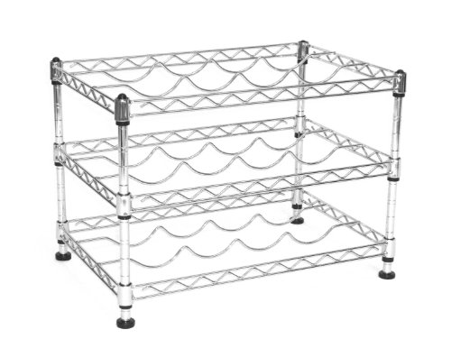 Seville Classics 12-Bottle Stackable Wine Rack, 11.5-inch by 17.5-inch by (Chrome Wine Rack)