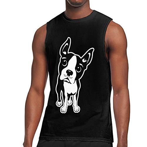 Mens Boston Sleeveless Tee (JohnKi01 Mens Boston Terrier Dog Sleeveless Cotton Exercising Muscle T-Shirts Black)