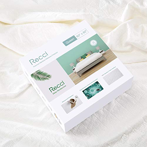 RECCI Premium Bamboo Mattress Protector Queen Size - 100% Bamboo Fabric Surface Mattress Cover, Waterproof Bed Cover, Hypoallergenic, Vinyl Free 【Queen Size】 (Best Sheets For 10 Inch Mattress)