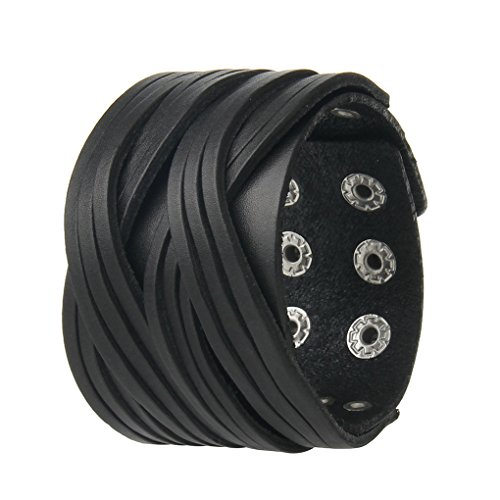 Bfiyi Genuine Leather Bracelet Cuff Bangle Handmade Jewelry Wrap Wristband for Men,Boys Adjustable