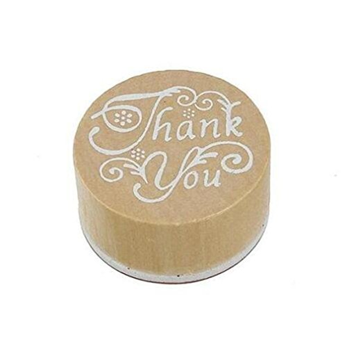 """Wooden Rubber Stamp Round Handwriting Wishes Sentiment Floral """"Thank You"""" for DIY Scrapbooking Albums by TheBigThumb"""