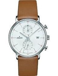 Junghans Form C Chronoscope Quartz Matt Silver Watch | Tan Calfskin 041/4774.00