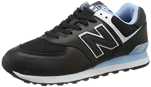 New Balance Men's 574v2 Sneaker, Black/Summer Sky, 14 2E US