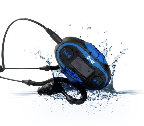 Buy diver 4gb waterproof mp3 player with lcd display and earphones blue