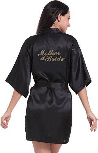 Best Deals (DF-deals Women's Satin Kimono Robe for Bridesmaid and Bride Wedding Party Getting Ready Short Robe with Gold Glitter)