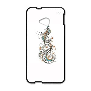HTC One M7 Cell Phone Case Black Peacock carved cell phone case bgk7169945