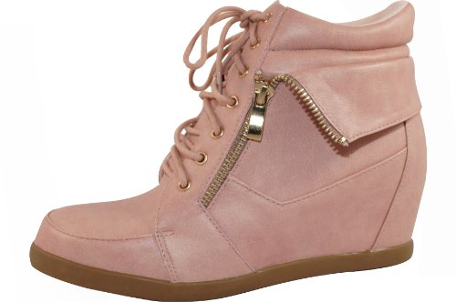 Top Moda Peter-30 Dames Lace Up Verborgen Platform Wedge Enkellaarsje Blush