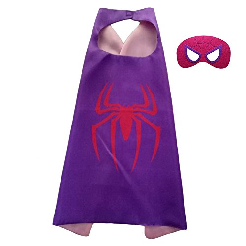 FASHION ALICE Girls Superman CAPE & MASK SET,Halloween Costume Cloak for Child (Spider man,Purple)