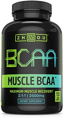 Zhou Nutrition Muscle BCAA – Branched Chain Amino Acids with Optimal 2 1 1 Ratio – Build Muscle, Improve Recovery and Increase Endurance, 120 BCAA Capsules.