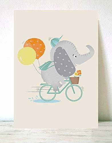 Menudos Cuadros Lámina Infantil Elefante en Bici (70X100cm ...