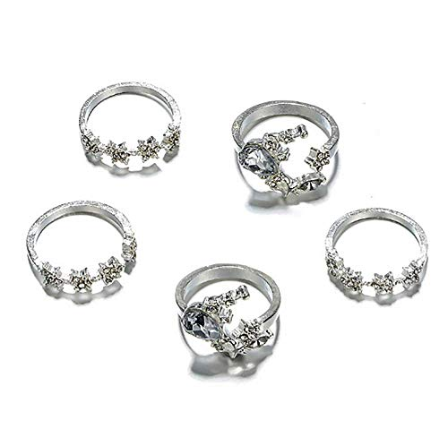 Deniferymakeup Simulated Diamond Vintage Silver Ring Girls Women Open Band Ring Star Moon Flower Rings Knuckle Rings Set Crystal Rhinestone Stacking Rings Boho Compliment for Girls Bohemian (Set of 5)