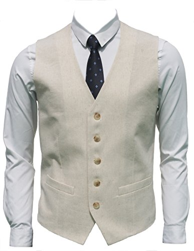 Ruth&Boaz Men's Linen Blend 2Pockets 5Buttons Summer Vest (XXXXL, Natural Linen) by Ruth&Boaz