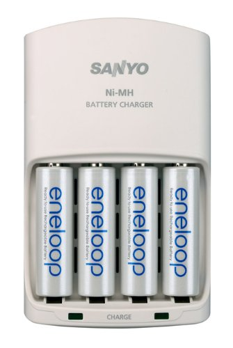 eneloop AA with 4 Position Charger, 1800 cycle, Ni-MH Pre-Charged Rechargeable Batteries, 4 Pack