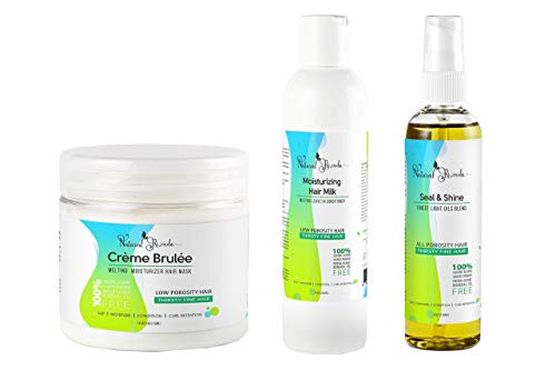 LOW POROSITY Hair Products Bundle - FINE Low Porosity Natural Hair Products - Deep conditioner For Low Porosity Hair, leave in conditioner for low porosity hair, hair oil - PROTEIN & COCONUT OIL FREE