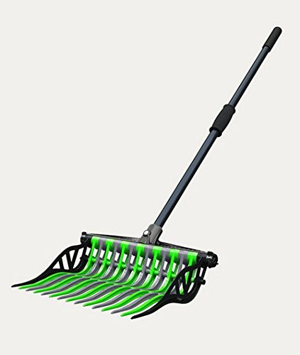 Noble Outfitters Wave Manure Pitch Fork An Unbreakable, Lightweight, and Customizable Manure Fork (Lime/Gray)