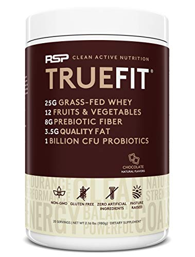 RSP TrueFit - Grass Fed Lean Meal Replacement Protein Shake, All Natural Whey Protein Powder with Fiber & Probiotics, Non-GMO, Gluten-Free & No Artificial Sweeteners, 2.16 LB Choc (Packaging May Vary) (Protein Powder Without Caffeine)