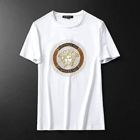 LULUDP//Camisetas para hombre Camiseta Modal Hombre Lentejuelas Camiseta de Manga Corta Camiseta Dorada con Bordado de Media Manga Tamaño Grande Camisetas de Manga Corta para Hombre al Aire Libre: Amazon.es: Hogar