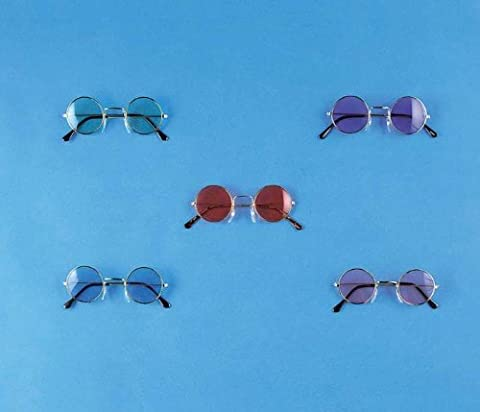 Adults Hippie Generation 60s 70s Pink Lense Glasses Costume Accessory