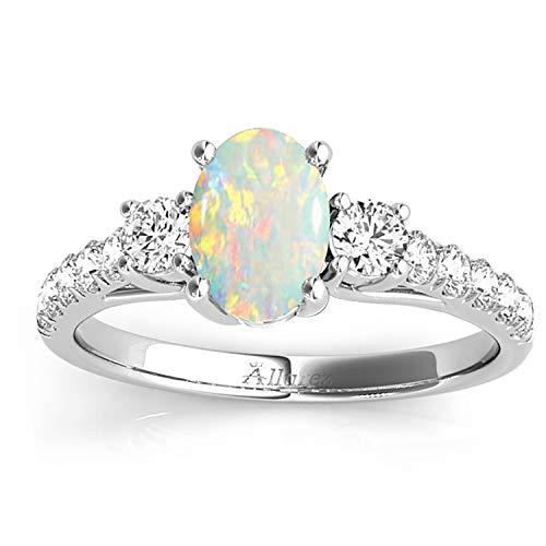 (1.40ct) Palladium Oval Cut Opal and Diamond Engagement Ring Setting