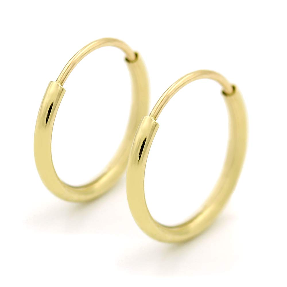 14K Gold Endless Hoop Earrings, Size 10mm - 20mm and 3-Pair Sets, Small Yellow 1mm Thin for Women and Men Ear Nose Cartilage Helix Tragus Lip, Giorgio Bergamo