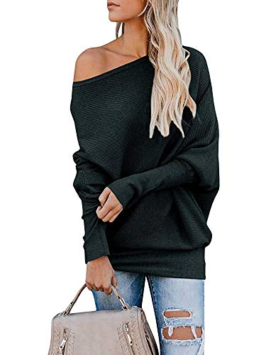 - Gemijack Womens Off Shoulder Jumper Rib Knitted Batwing Pullover Sweater Knit Tops Olive