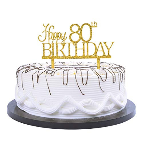Swell Yuinyo Happy 80Th Birthday Cake Topper Gold 80Th Birthday Party Personalised Birthday Cards Beptaeletsinfo